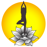 yoga sillouette in a sun icon